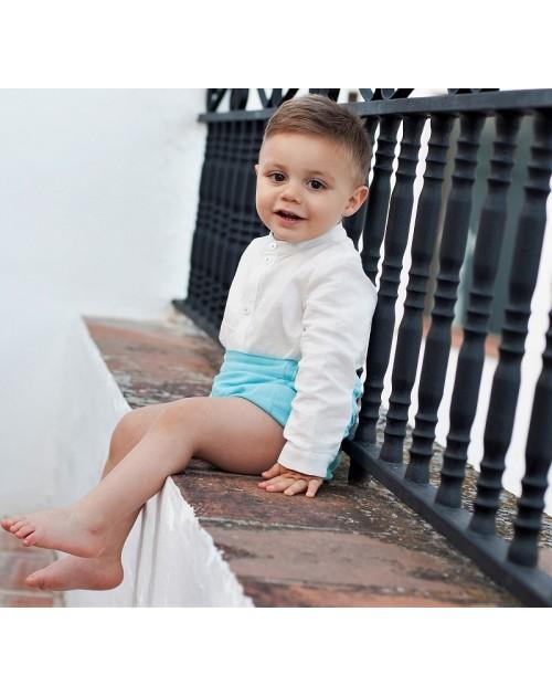 Conjunto bebé niño turquesa.