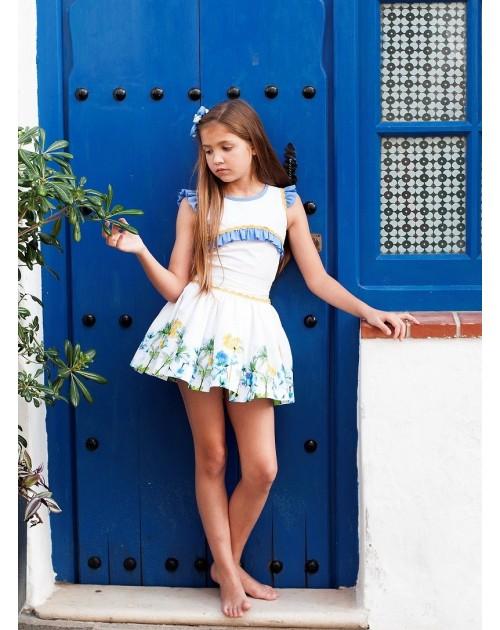 Conjunto de falda y camisa cenefa flores.