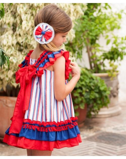 Vestido rayas rojo y azul volante.